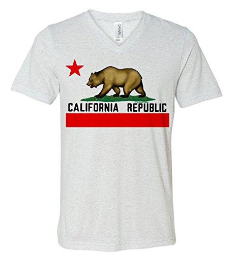 California Republic Borderless Flag Triblend V-Neck T-shirt - White Fleck - Flecks What Are