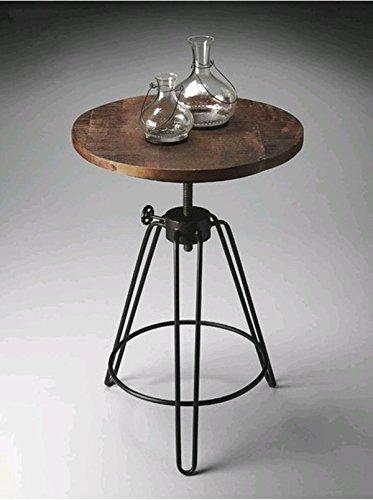 Upper-Vintage Massivholz Couchtisch modernes, minimalistisches kleine runde Schmiedeeisen antike alte Kiefer Couchtisch Tisch klein