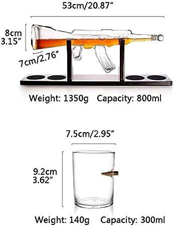 YLLYI AK-47 Gun Contenedor De Vino De Vidrio con Forma De Whisky con 4 Vasos De Bala, Juego De Decantador De Vidrio De 1000 Ml, Botella De Vino Artesanal, Gran Regalo,L