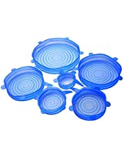 6pcs/Lot Universal Reusable Silicone Stretch Lids Food Fresh Cover Suction Lid-Bowl Pan Fruit Mug Food Fresh Keeping Lid Silicone Cover Pan Spill Lid Stopper Cover
