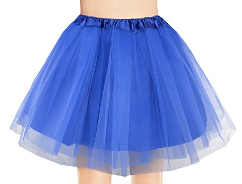 v28 Women's, Teen, Adult Classic Elastic 3, 4, 5 Layered Tulle Tutu Skirt (One Size, 4Layer-Navy)