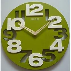 Worldoor®Hot Sale 3D Big Digit Modern Contemporary Kitchen Office Home Decor Wall Clock Black (Green)
