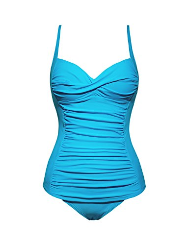 Sweetheart Tankini Top - GRAPENT Women's Racing Ruched Two-Piece Tankini Set Solid Color Bathing Suit Swimsuit Athletic Sports Swimwear Sky Blue Size M