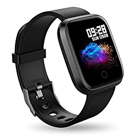RIVERSONG Smart Watch Fitness Activity Tracker Color Screen Waterproof Sports Fitness Watch with Heart Rate Calories GPS Pedometer Sleep Monitor Call/Message Reminder Music Player for Men (Black)