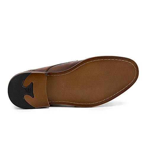 para Brown Cuero los Hombres 44 de Size Party para Boda Hombre Brogue Zapatos MXNET Vestir Doble Formal Genuino Slip Office en Color EU Brown Hebilla xIwq4SO