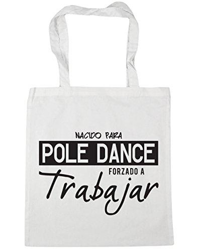 HippoWarehouse NACIDO PARA POLE DANCE FORZADO A TRABAJAR Bolso de Playa Bolsa Compra Con Asas para gimnasio 42cm x 38cm 10 litros capacidad Blanco