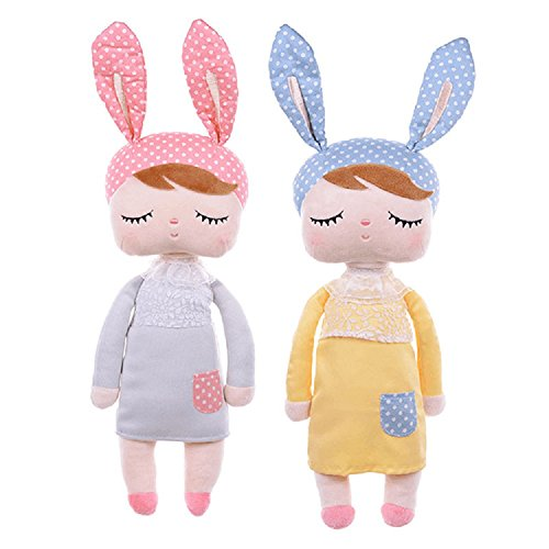 Me Too Dolls Plush Bunny Rabbit Soft Toys Cartoon Kids Toys Sleeping Angela Doll for Baby Toddler 13 Inches (Pack of 2)