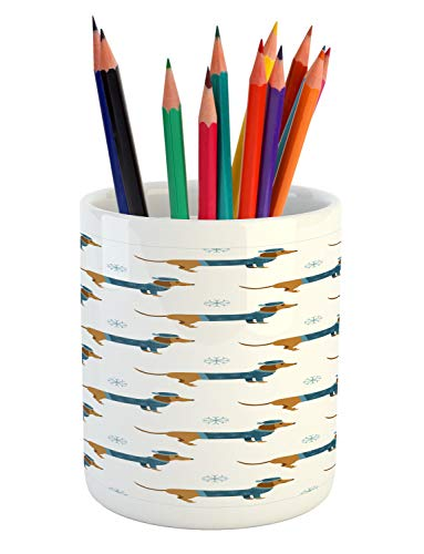 Ambesonne Dachshund Pencil Pen Holder, Winter Cartoon Sausage Dog in Pullover and Snowflakes, Printed Ceramic Pencil Pen Holder for Desk Office Accessory, Ginger Dark Turquoise Pale Blue White
