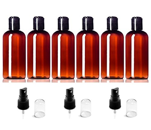 (Set of 6) Plastic Amber 4 Ounce Boston Round Empty Refillable PET Bottles ( BPA Free) Includes 3 Additional Sprayer Tops