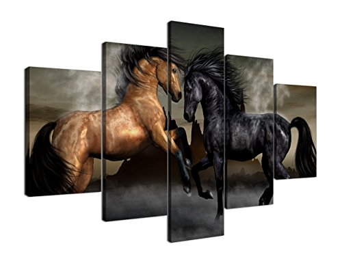 (Yatsen Bridge Extra Large Canvas Painting for Living Room Wall Art Prints Horses Paintings Pictures Artwork for Living Room Office Bedroom Wall Decorations Stretched and Framed(70''W x)