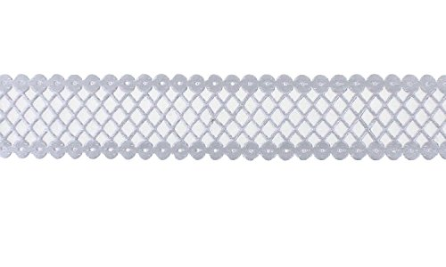 Trimweaver TW-78-LASER-CUT-DIAMOND-TRIM-SILVER-5YD 5 yd. Laser Cut Diamond Pattern Trim Ribbon, 7/8