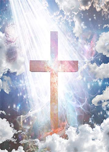 Yeele Jesus Christ Photo Backdrops 5x7ft Cross Glowing Crucifix Sunshine Holy Light Sky White Cloud Pictures Christian Adult Artistic Portrait Photoshoot Props Photography Background Wallpaper -