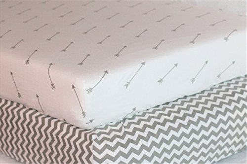 Premium Crib Sheets - 100% Organic Jersey Knit Cotton (Pack of 2) Gender Neutral Gray for Toddler and Baby: Chevron & Arrows by Bubs & - Set Organic Jersey Sheet