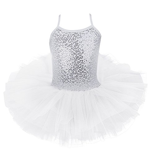 Freebily Kids Girls Sequined Tutu Ballet Dance Leotard Dress Ballerina Glittering Dance wear Costumes White -