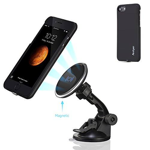 Antye Magnetic Qi Wireless Car Mount Charger Charging Cradle for iPhone 7 (4.7 Version), Dashboard Suction Cup Holder, with Flexible Wireless Charging Receiver Case Matte Finish Back Cover, Black