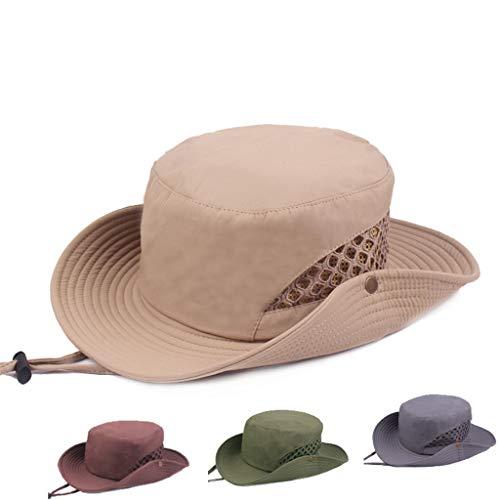 ℱLOVESOOℱ Unisex Outdoor Boonie Hat Wide Brim Breathable Hunting Mountaineering Safari Fishing Hat UV Protection Foldable Cap Khaki ()