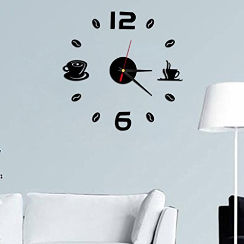 Iuhan Fashion Removable Diy Acrylic 3D Mirror Wall Sticker Decorative Clock (Black)