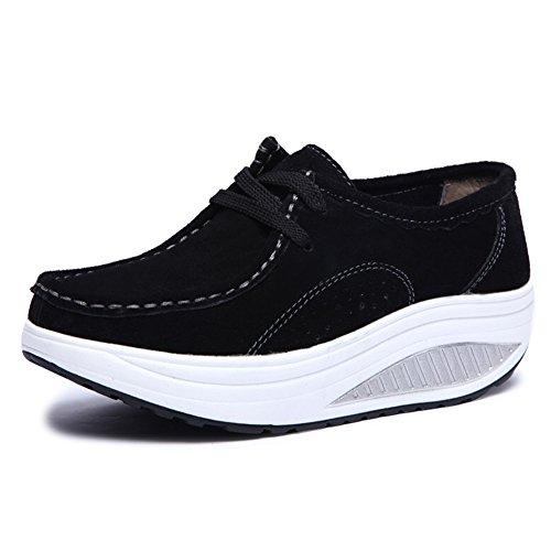 Invierno Mocasines Plataforma De Zapatillas Gamuza Cuero Otoño Deporte Cuña Plano 1negro Mujer Zapatos Botas 8P5dqwq