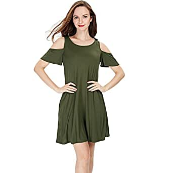 Ensasa Women Deep V Neck Open-back Beach Cover Up Beach Skirt, Cold Shoulder Army Green, Small
