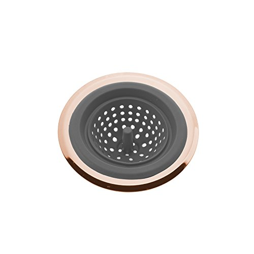 Bathroom Sink Colors - COOK with COLOR Flexible Silicone Good Grips Kitchen Sink Strainer Rose Gold Copper Large Wide 4.5' Diameter Rim/Grey Silicone Durable Drain Basket Traps Food Debris and Prevents Clogs