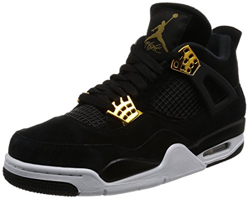 Nike Jordan Mens Air Jordan 4 Retro Black/Metallic Gold White Basketball Shoe 10.5 Men US by NIKE