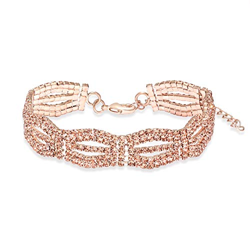 YEYA Adjustable Cubic Zirconia Classic Tennis Bracelet for Women Chain Link Bangle Bracelet Jewelry (Rose Gold)