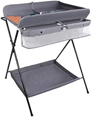 おむつ交換台 赤ん坊のタオル掛けが付いているテーブル、0-3歳の携帯用おむつの場所、新生児、灰色
