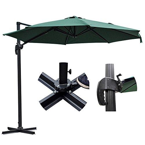 Foot Shade Patio Umbrella (TRIPREL INC. 10' Feet Hanging Roma Offset Umbrella Outdoor Patio Sun Shade Cantilever Crank Canopy - GREEN)