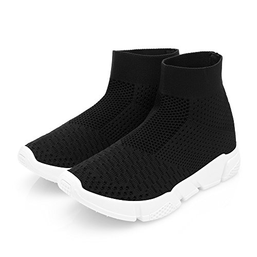 DRKA Women Athletic Mesh Walking Shoes, Lightweight and Breathable Slip-on Sneakers Black935