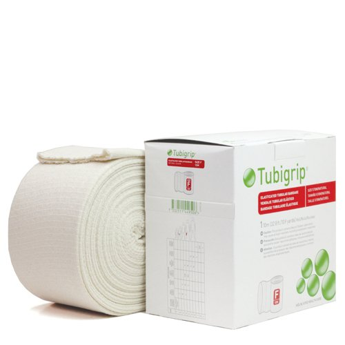 ConvaTec Tubigrip Elastic Tubular Bandage Large knees, medium thighs - F (Natural Color), 4'' W x 33' L