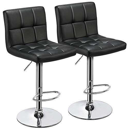 Yaheetech X-Large Bar Stools Set of 2 - Modern Adjustable Kitchen Island Chairs Counter Height Barstools Swivel PU Leather Chair Black 30 inches,with Bigger Base ()