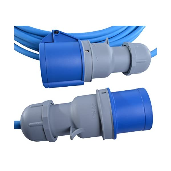 10m 16 AMP to 16 AMP Extension Lead 1.5mm Arctic Blue Cable 240V Mains Hook Up Cable IP44 Rated