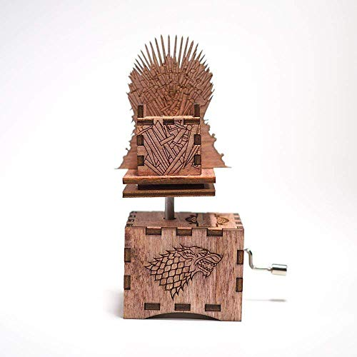 Game of Thrones Music Box - Mahogany Stain - Iron Throne Opening Theme - Personalized engraved gift. Hand cranked mechanism.
