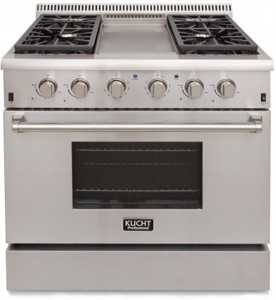 "Kucht KRG3609U/LP 36"" Professional-Class Liquid Propane Gas Range with 5.2 cu. ft. Convection Oven, 4 Top Burners, Heavy Duty Cast-Iron Cooking Grates and Blue Porcelain Interior in Stainless Steel"