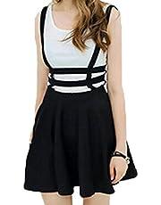 Halife Women's Elastic Waist Cut Out A Line Mini Suspender Skirt Pleated Braces Skirts