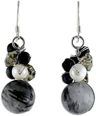 NOVICA Tourmalinated Quartz Cultured Freshwater Pearl .925 Silver Beaded Earrings, 'Sophisticate'