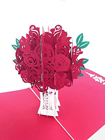 PopLife Red Rose Bouquet 3D Pop Up Greeting Card for All Occasions - Date Night, Flower Vase, Wedding Gift - Folds Flat, Perfect for Mailing - Birthday, Engagement, Anniversary, Mother's - Rose Bouquet Wedding Invitations