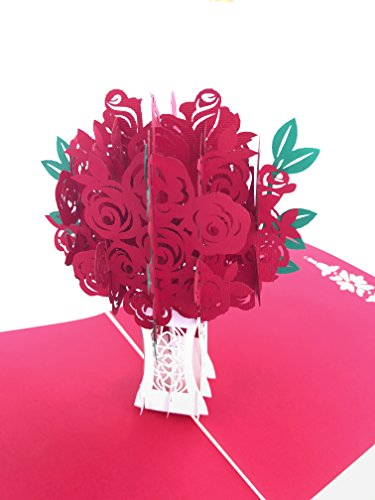 Life Sympathy Bouquet (PopLife Red Rose Bouquet 3D Pop Up Greeting Card for All Occasions - Date Night, Flower Vase, Wedding Gift - Folds Flat, Perfect for Mailing - Birthday, Engagement, Anniversary, Mother's Day)