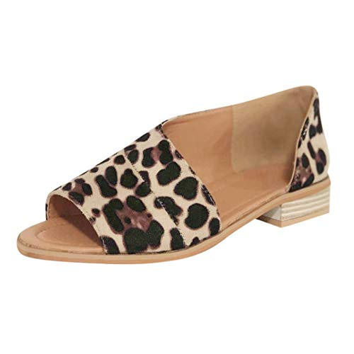 Women's Fashion Leopard Rome Slip On Peep Toe Low Heels Female Square Heel Casual Sandals ()