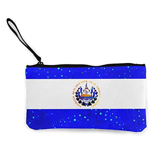 """Coin Purse El Salvador Starry Flag Cute Travel Makeup Pencil Pen Case With Handle Cash Canvas Zipper Pouch 4.7""""X8.7"""""""