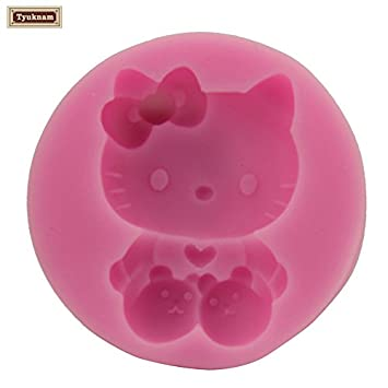 GIMITSUI Store 3D Hello Kitty Shape Silicone Mold Tool Resin Cake Baking Soap Form Novelty Pastry Dessert Girls Birthday Party Cake Jelly Mould (Silicone) Tyukuam