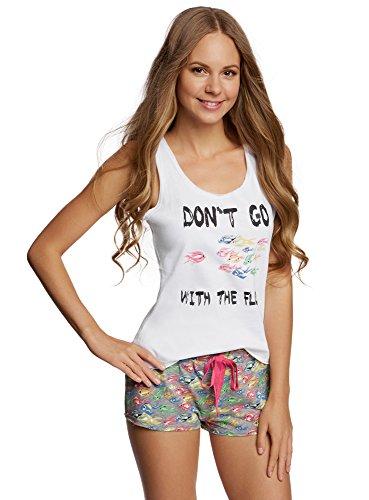 oodji Ultra Mujer Pijama de Algodón con Estampado Blanco (1019P)