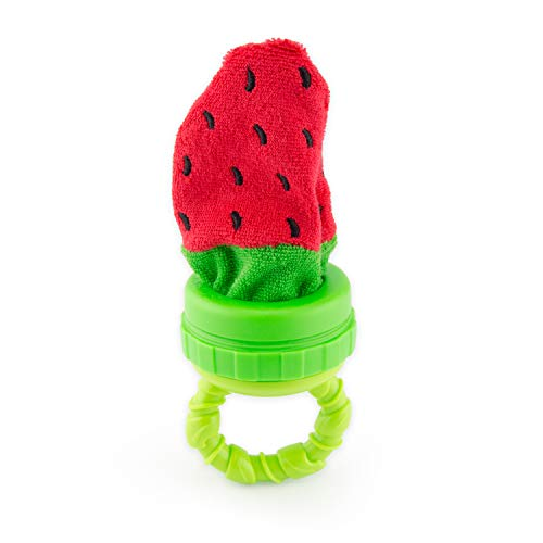 Sassy Strawberry Terry Teether Teething Toy | Soft Terrycloth Washcloth Material | Add Ice For Teething Relief | For Ages 3 Months & - Teether Sassy
