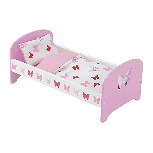 18 Inch Doll Furniture | Lovely Pink and White Single Bed, Includes Plush Reversible Bedding | Fits 18