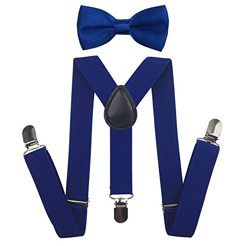 Cinny Universal Adjustable Suspender Set with Bow Tie for Kids (Blue)