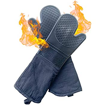 ByChefCD Extra Long Silicone Oven Mitts/Heat Resistant Gloves Non-Slip Professional Cooking Gloves, Kitchen Potholders and Oven Mitts, Grill Gloves Heat Resistant, Oven Mitt