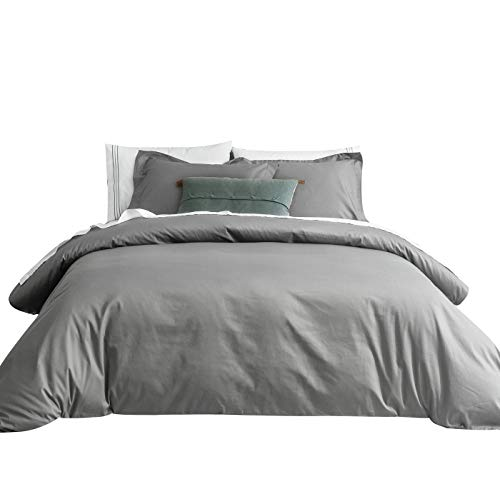 SUSYBAO 3 Pieces Duvet Cover Set 100% Natural Cotton Queen Size 1 Duvet Cover 2 Pillow Shams Stone Grey Luxury Quality Ultra Soft Breathable Lightweight Durable Solid Bedding with Zipper Ties