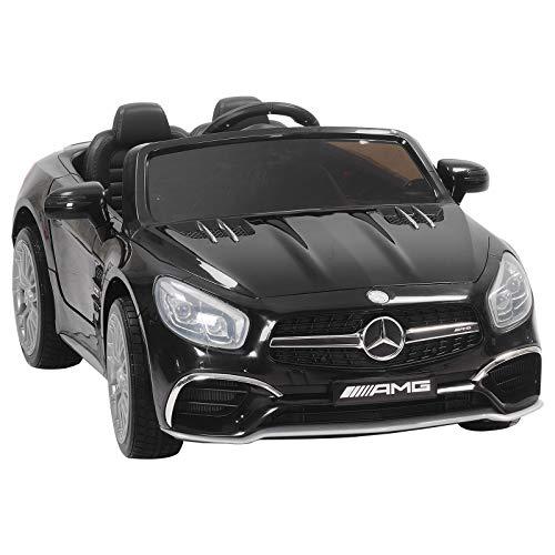 (Uenjoy 12V Ride On Cars Licensed Mercedes-Benz SL65 AMG Roadster Electric Cars for Kids w/Kiddie Ride Fun & Remote Control RC & LED Lights & Spring Suspension & Safety Lock Black)