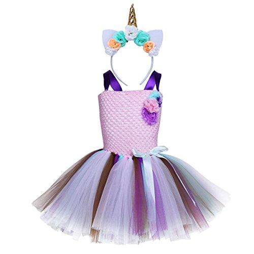 Agoky Kids Girls Halloween Cartoon Cosplay Costumes Rainbow Tutu Dress with Headband Pink 5-6 -
