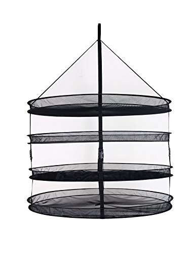 Zazzy 3-Ft 4-Layer Collapsible Mesh Hydroponic Drying Rack D